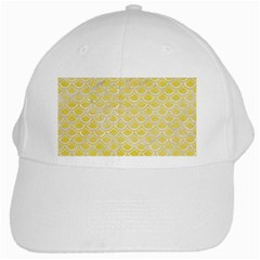 Scales2 White Marble & Yellow Watercolor White Cap by trendistuff