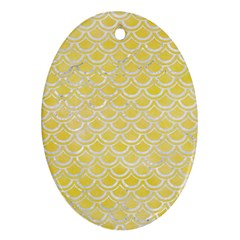 Scales2 White Marble & Yellow Watercolor Ornament (oval) by trendistuff