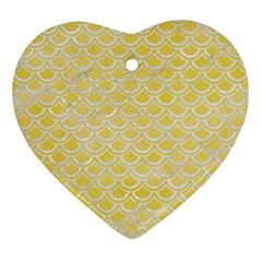 Scales2 White Marble & Yellow Watercolor Ornament (heart) by trendistuff