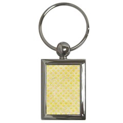 Scales2 White Marble & Yellow Watercolor Key Chains (rectangle)  by trendistuff