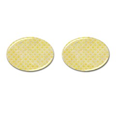 Scales2 White Marble & Yellow Watercolor Cufflinks (oval) by trendistuff