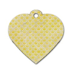 Scales2 White Marble & Yellow Watercolor Dog Tag Heart (one Side)