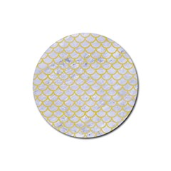 Scales1 White Marble & Yellow Watercolor (r) Rubber Coaster (round)  by trendistuff