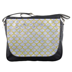 Scales1 White Marble & Yellow Watercolor (r) Messenger Bags by trendistuff