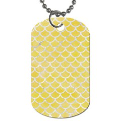Scales1 White Marble & Yellow Watercolor Dog Tag (one Side) by trendistuff