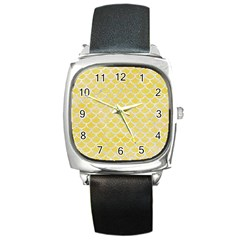 Scales1 White Marble & Yellow Watercolor Square Metal Watch by trendistuff