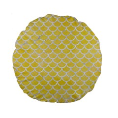 Scales1 White Marble & Yellow Watercolor Standard 15  Premium Flano Round Cushions by trendistuff