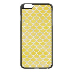 Scales1 White Marble & Yellow Watercolor Apple Iphone 6 Plus/6s Plus Black Enamel Case by trendistuff