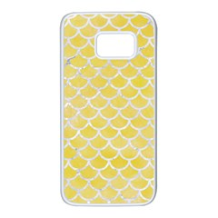 Scales1 White Marble & Yellow Watercolor Samsung Galaxy S7 White Seamless Case