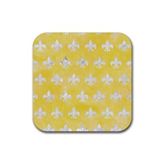 Royal1 White Marble & Yellow Watercolor (r) Rubber Coaster (square)  by trendistuff
