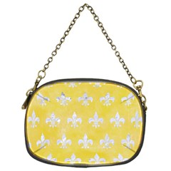 Royal1 White Marble & Yellow Watercolor (r) Chain Purses (one Side)  by trendistuff
