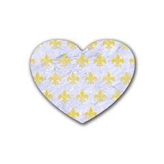Royal1 White Marble & Yellow Watercolor Rubber Coaster (heart)  by trendistuff