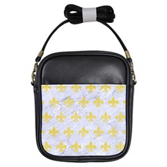 Royal1 White Marble & Yellow Watercolor Girls Sling Bags by trendistuff