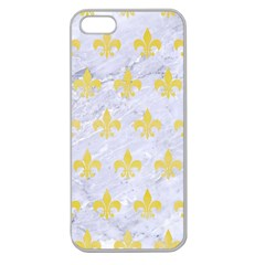 Royal1 White Marble & Yellow Watercolor Apple Seamless Iphone 5 Case (clear) by trendistuff
