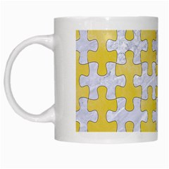 Puzzle1 White Marble & Yellow Watercolor White Mugs by trendistuff