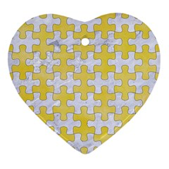 Puzzle1 White Marble & Yellow Watercolor Heart Ornament (two Sides) by trendistuff