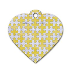 Puzzle1 White Marble & Yellow Watercolor Dog Tag Heart (one Side) by trendistuff