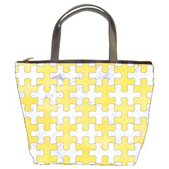 Puzzle1 White Marble & Yellow Watercolor Bucket Bags by trendistuff
