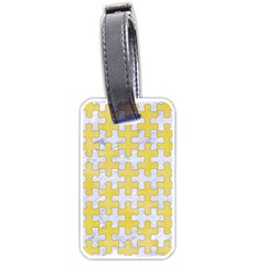 Puzzle1 White Marble & Yellow Watercolor Luggage Tags (two Sides) by trendistuff