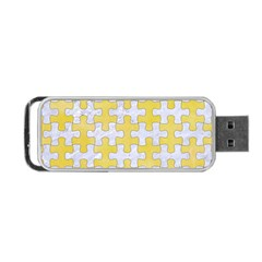 Puzzle1 White Marble & Yellow Watercolor Portable Usb Flash (one Side) by trendistuff
