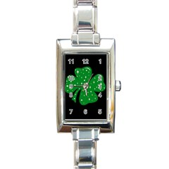 Sparkly Clover Rectangle Italian Charm Watch by Valentinaart