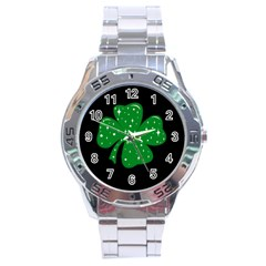 Sparkly Clover Stainless Steel Analogue Watch by Valentinaart