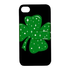 Sparkly Clover Apple Iphone 4/4s Hardshell Case With Stand