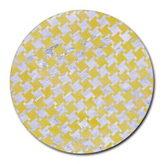 Houndstooth2 White Marble & Yellow Watercolor Round Mousepads by trendistuff