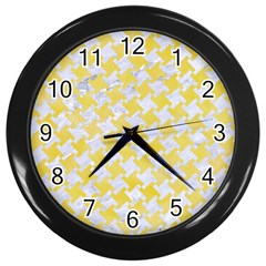 Houndstooth2 White Marble & Yellow Watercolor Wall Clocks (black) by trendistuff