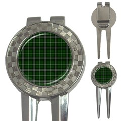 Green Plaid Pattern 3 In 1 Golf Divots by Valentinaart
