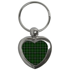 Green Plaid Pattern Key Chains (heart)  by Valentinaart