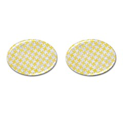 Houndstooth2 White Marble & Yellow Watercolor Cufflinks (oval) by trendistuff