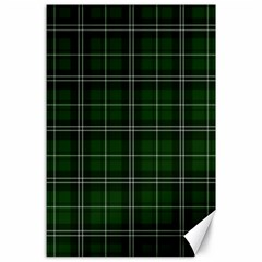Green Plaid Pattern Canvas 24  X 36  by Valentinaart