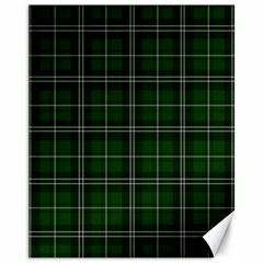 Green Plaid Pattern Canvas 11  X 14   by Valentinaart