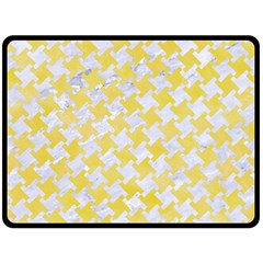 Houndstooth2 White Marble & Yellow Watercolor Fleece Blanket (large)  by trendistuff