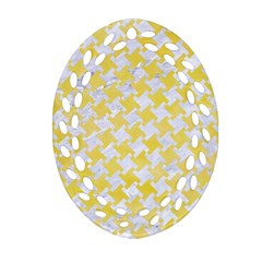 Houndstooth2 White Marble & Yellow Watercolor Oval Filigree Ornament (two Sides) by trendistuff