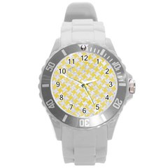 Houndstooth2 White Marble & Yellow Watercolor Round Plastic Sport Watch (l) by trendistuff