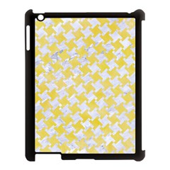 Houndstooth2 White Marble & Yellow Watercolor Apple Ipad 3/4 Case (black) by trendistuff