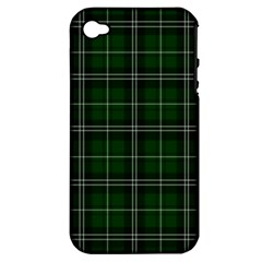 Green Plaid Pattern Apple Iphone 4/4s Hardshell Case (pc+silicone)