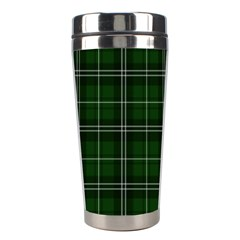 Green Plaid Pattern Stainless Steel Travel Tumblers by Valentinaart