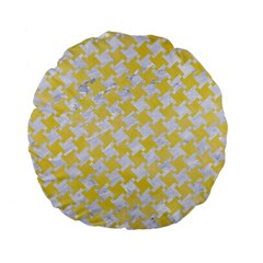 Houndstooth2 White Marble & Yellow Watercolor Standard 15  Premium Flano Round Cushions by trendistuff