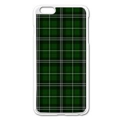 Green Plaid Pattern Apple Iphone 6 Plus/6s Plus Enamel White Case