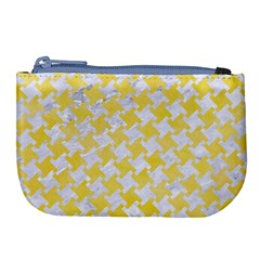 Houndstooth2 White Marble & Yellow Watercolor Large Coin Purse by trendistuff