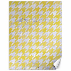 Houndstooth1 White Marble & Yellow Watercolor Canvas 18  X 24   by trendistuff