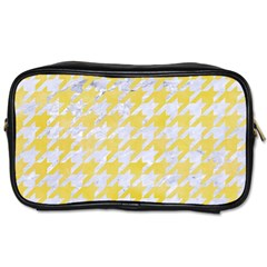 Houndstooth1 White Marble & Yellow Watercolor Toiletries Bags 2 Side by trendistuff