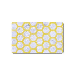 Hexagon2 White Marble & Yellow Watercolor (r) Magnet (name Card) by trendistuff