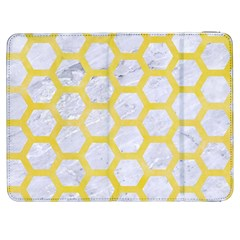 Hexagon2 White Marble & Yellow Watercolor (r) Samsung Galaxy Tab 7  P1000 Flip Case by trendistuff
