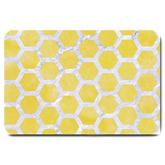 Hexagon2 White Marble & Yellow Watercolor Large Doormat
