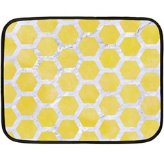 Hexagon2 White Marble & Yellow Watercolor Fleece Blanket (mini)
