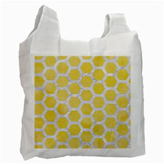 Hexagon2 White Marble & Yellow Watercolor Recycle Bag (two Side)  by trendistuff